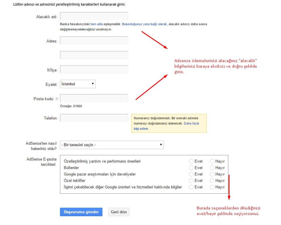 Google Adsense Kayıt Aşamaları 5 adım